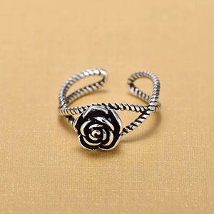 🆕 925 Sterling Silver Rose Flower Adjustable Ring